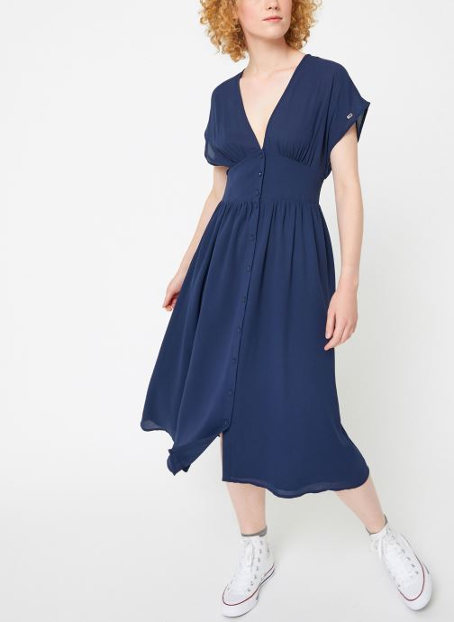 Vêtements Tommy Jeans TJW WAIST DETAIL MIDI DRESS Bleu vue bas / vue portée sac