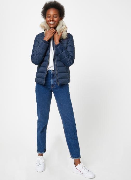 Vêtements Tommy Jeans TJW ESSENTIAL HOODED DOWN JACKET Bleu vue bas / vue portée sac