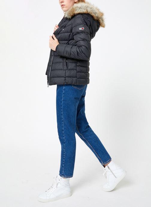 Vêtements Tommy Jeans TJW ESSENTIAL HOODED DOWN JACKET Noir vue bas / vue portée sac