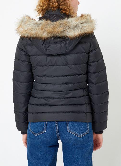 Kleding Tommy Jeans TJW ESSENTIAL HOODED DOWN JACKET Zwart model