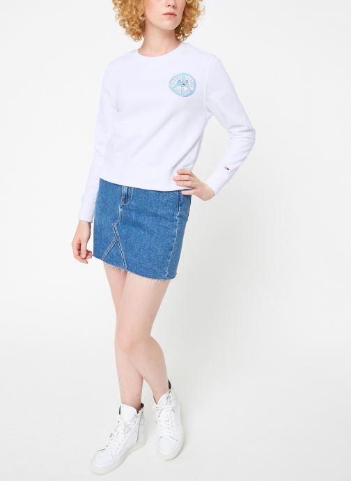 Vêtements Tommy Jeans TJW PEACE AND LOVE CREW Blanc vue bas / vue portée sac