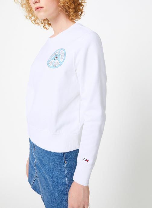 Vêtements Tommy Jeans TJW PEACE AND LOVE CREW Blanc vue droite
