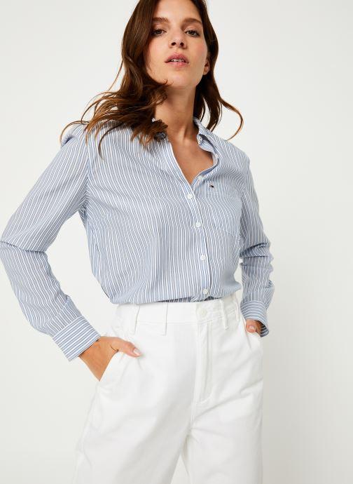 Vêtements Tommy Jeans TJW REGULAR STRIPE SHIRT Blanc vue détail/paire