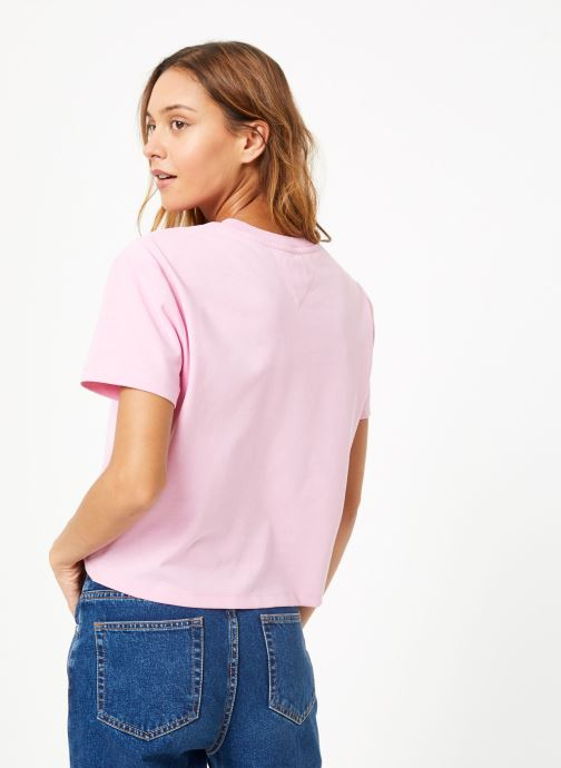 Kleding Tommy Jeans TJW TOMMY BADGE TEE Roze model