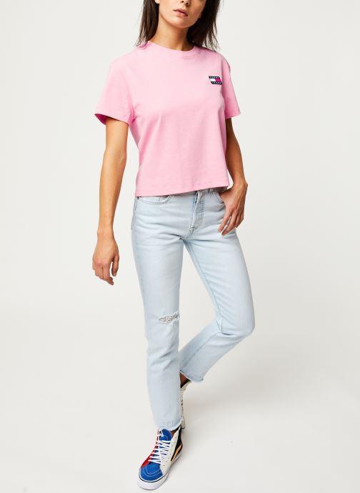 Vêtements Tommy Jeans TJW TOMMY BADGE TEE Rose vue bas / vue portée sac