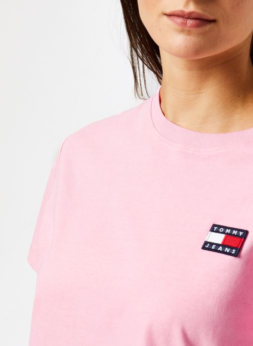Vêtements Tommy Jeans TJW TOMMY BADGE TEE Rose vue face