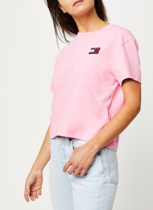 Vêtements Tommy Jeans TJW TOMMY BADGE TEE Rose vue droite