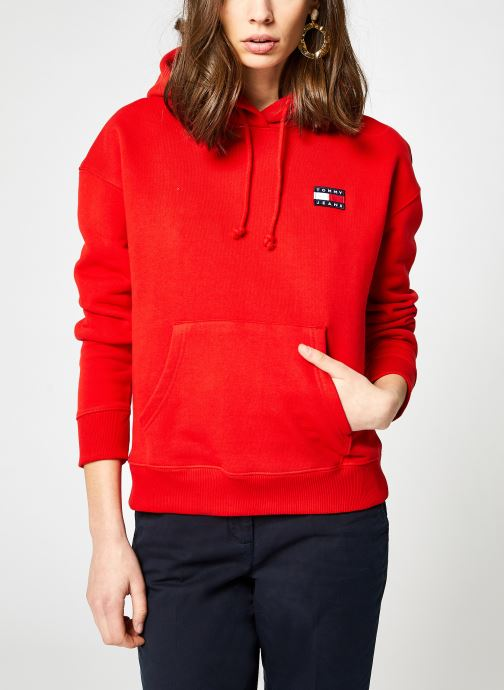 Kleding Tommy Jeans TJW TOMMY BADGE HOODIE Rood detail