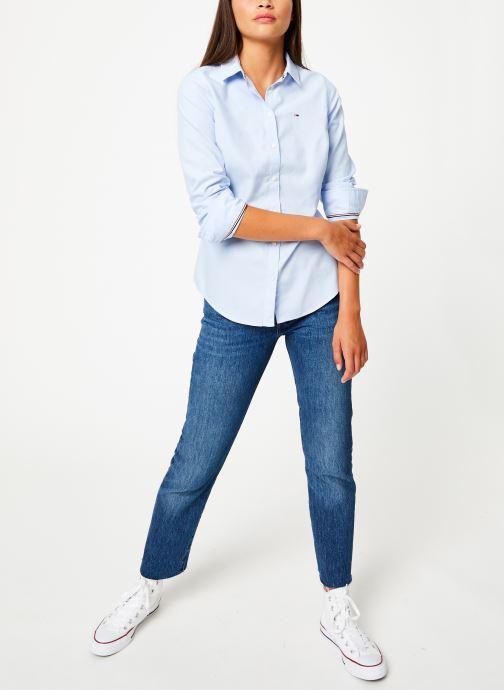 Vêtements Tommy Jeans TJW SLIM FIT OXFORD SHIRT Bleu vue bas / vue portée sac