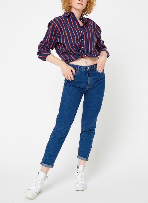 Vêtements Tommy Jeans TJW MULTISTRIPE LOGO SHIRT Bleu vue bas / vue portée sac