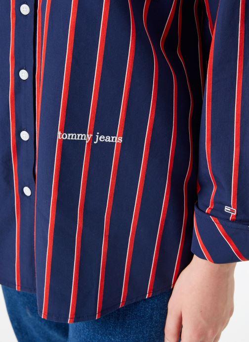 Vêtements Tommy Jeans TJW MULTISTRIPE LOGO SHIRT Bleu vue face