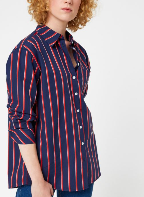 Vêtements Tommy Jeans TJW MULTISTRIPE LOGO SHIRT Bleu vue droite