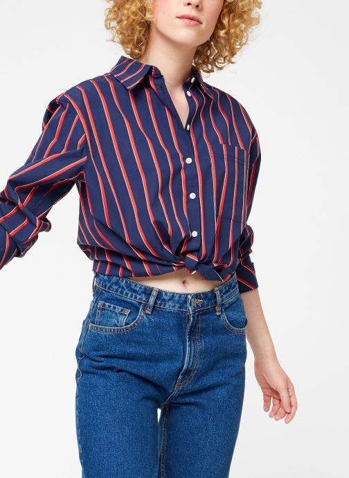 Vêtements Tommy Jeans TJW MULTISTRIPE LOGO SHIRT Bleu vue détail/paire