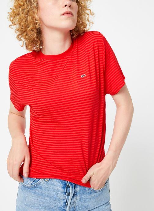 Kleding Tommy Jeans TJW TEXTURED HANDFEEL TEE Rood detail