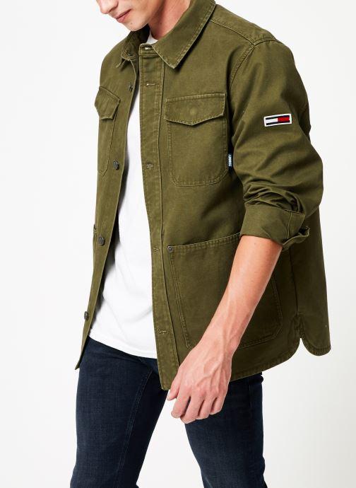 Vêtements Tommy Jeans TJM CARGO JACKET Vert vue droite