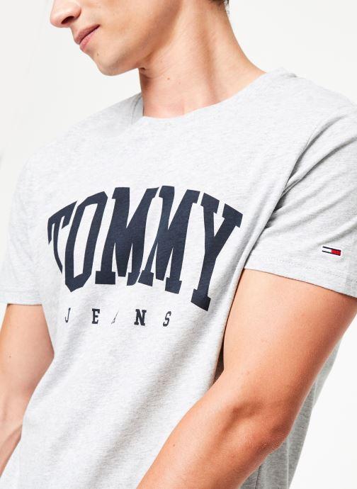 Vêtements Tommy Jeans TJM ESSENTIAL LOGO TEE Gris vue face