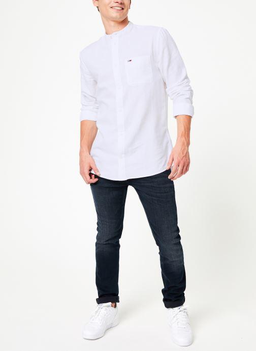 Vêtements Tommy Jeans TJM MAO LINEN SHIRT Blanc vue bas / vue portée sac