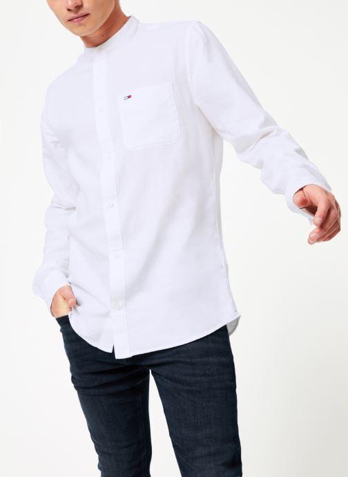 Vêtements Tommy Jeans TJM MAO LINEN SHIRT Blanc vue droite
