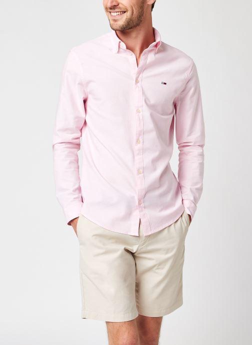 Vêtements Tommy Jeans TJM STRETCH OXFORD SHIRT Rose vue détail/paire