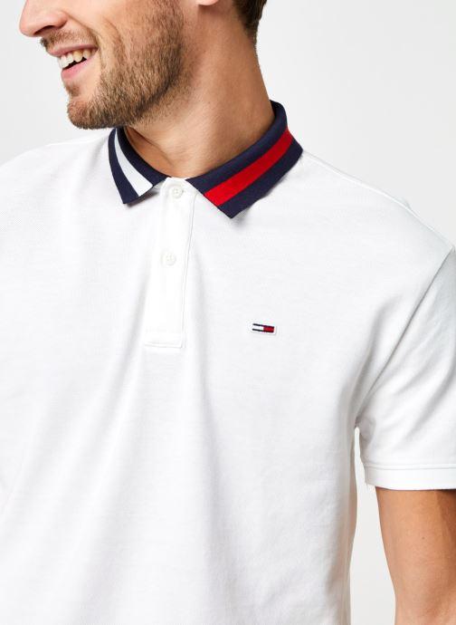 Vêtements Tommy Jeans TJM FLAG NECK POLO Blanc vue face