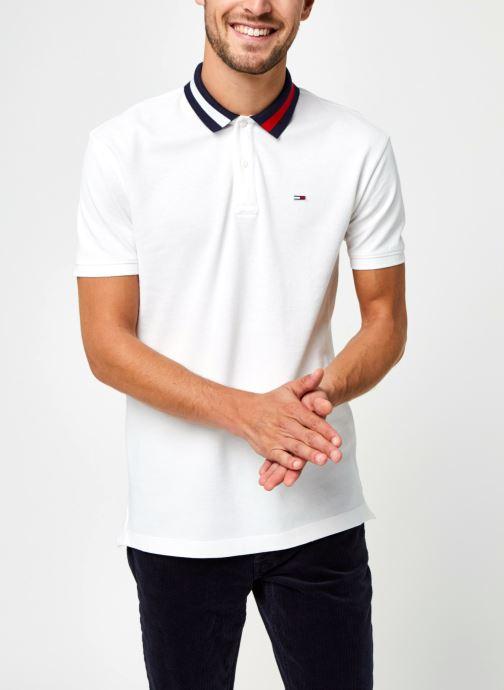 Vêtements Tommy Jeans TJM FLAG NECK POLO Blanc vue droite