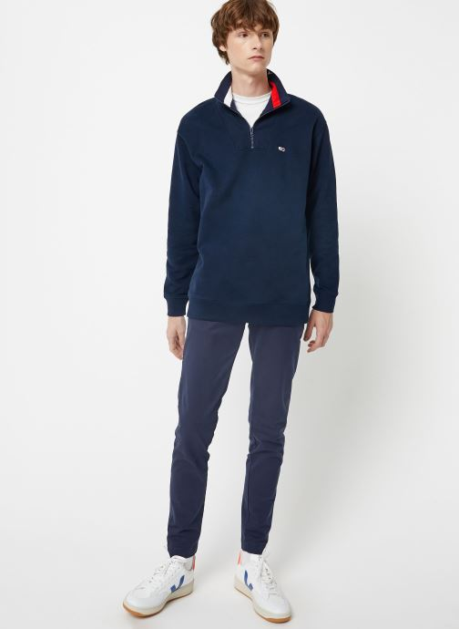 Vêtements Tommy Jeans TJM SOLID ZIP MOCK NECK Bleu vue bas / vue portée sac