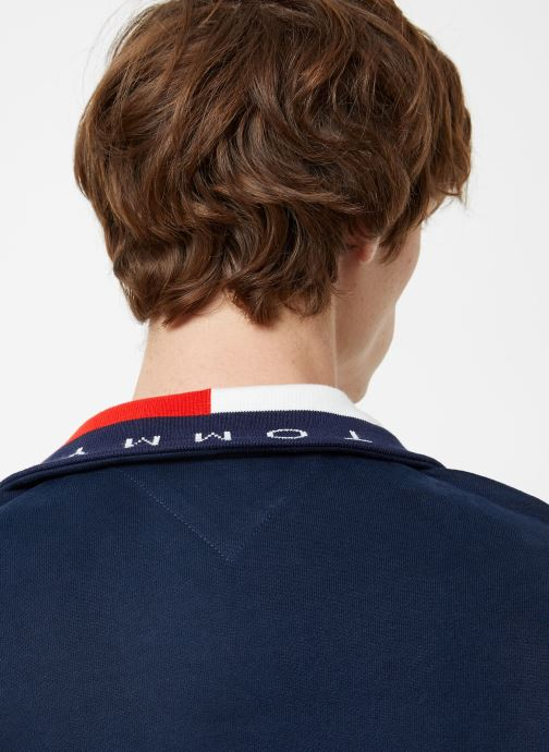 Vêtements Tommy Jeans TJM SOLID ZIP MOCK NECK Bleu vue face