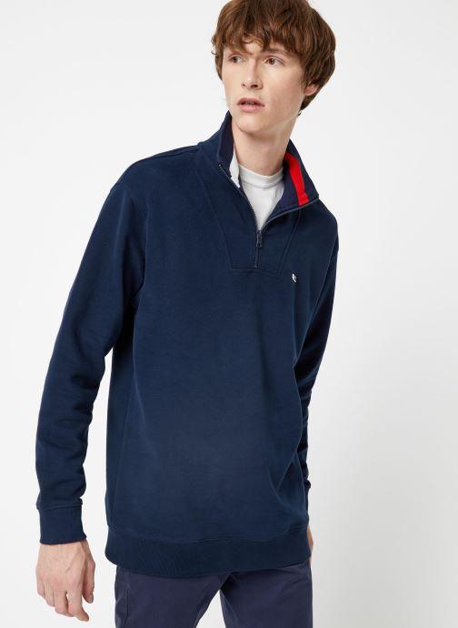 Vêtements Tommy Jeans TJM SOLID ZIP MOCK NECK Bleu vue droite