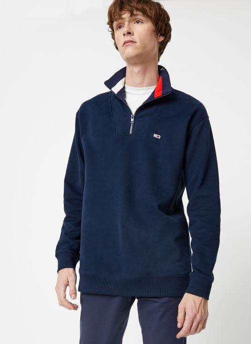 Vêtements Tommy Jeans TJM SOLID ZIP MOCK NECK Bleu vue détail/paire