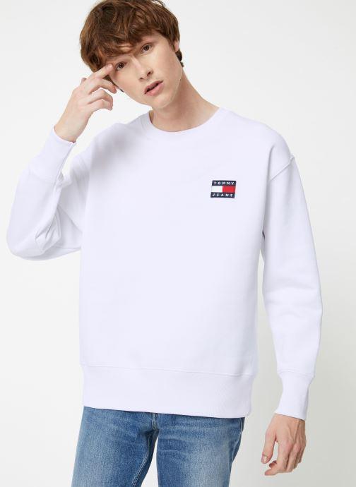 Vêtements Tommy Jeans TJM TOMMY JEANS BADGE CREW Blanc vue droite