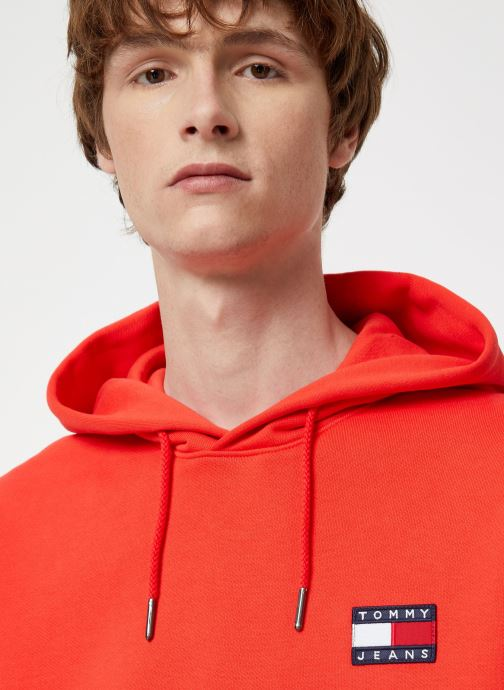 Vêtements Tommy Jeans TJM TOMMY BADGE HOODIE Rouge vue face
