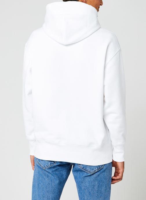 Vêtements Tommy Jeans TJM TOMMY BADGE HOODIE Blanc vue portées chaussures
