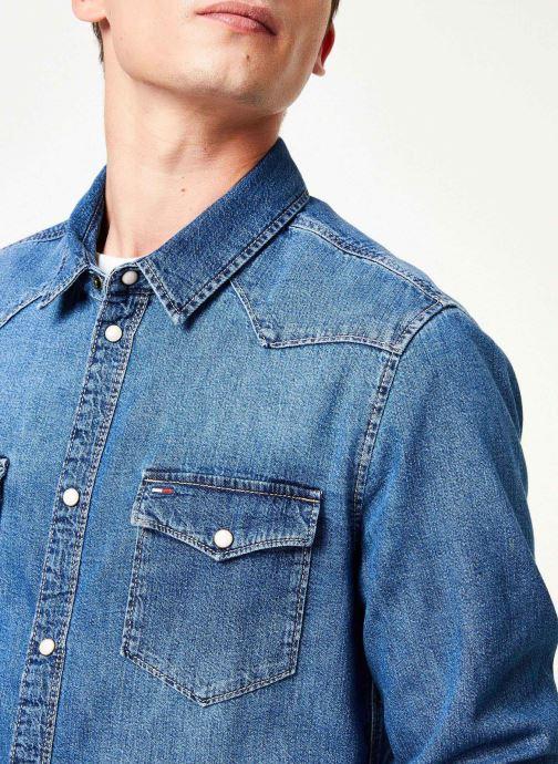 Tøj Tommy Jeans WESTERN DENIM SHIRT MSMB Blå se forfra