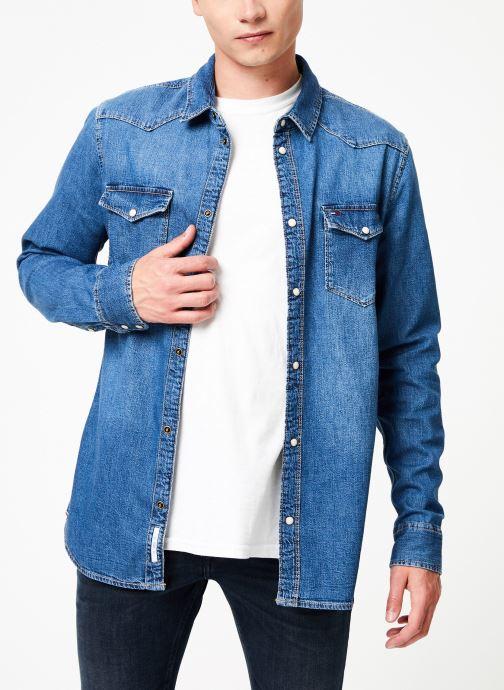 Vêtements Tommy Jeans WESTERN DENIM SHIRT MSMB Bleu vue droite
