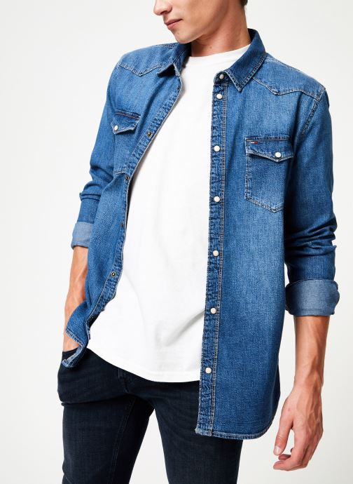 Kleding Tommy Jeans WESTERN DENIM SHIRT MSMB Blauw detail