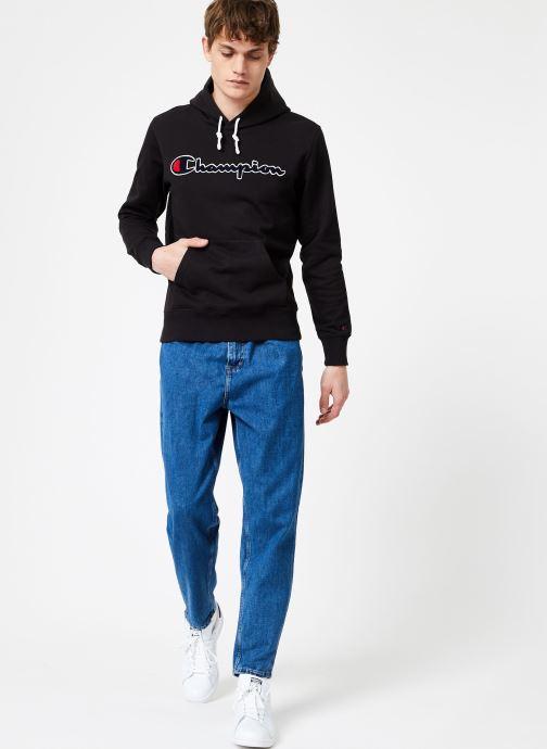 Tøj Champion Champion Large Script Logo Hooded Sweatshirt Sort se forneden