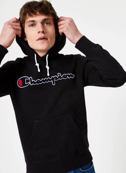 Kleding Champion Champion Large Script Logo Hooded Sweatshirt Zwart detail