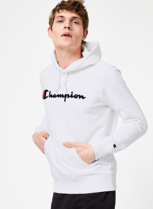 Kleding Champion Champion Large Script Logo Hooded Sweatshirt Wit rechts