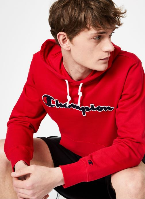 Vêtements Champion Champion Large Script Logo Hooded Sweatshirt Rouge vue détail/paire