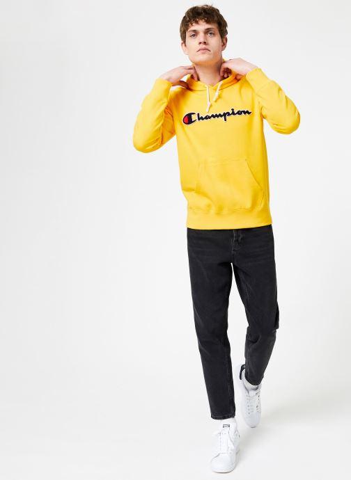 Vêtements Champion Champion Large Script Logo Hooded Sweatshirt Jaune vue bas / vue portée sac