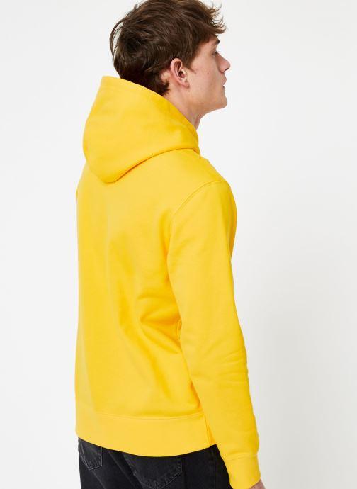 Vêtements Champion Champion Large Script Logo Hooded Sweatshirt Jaune vue portées chaussures