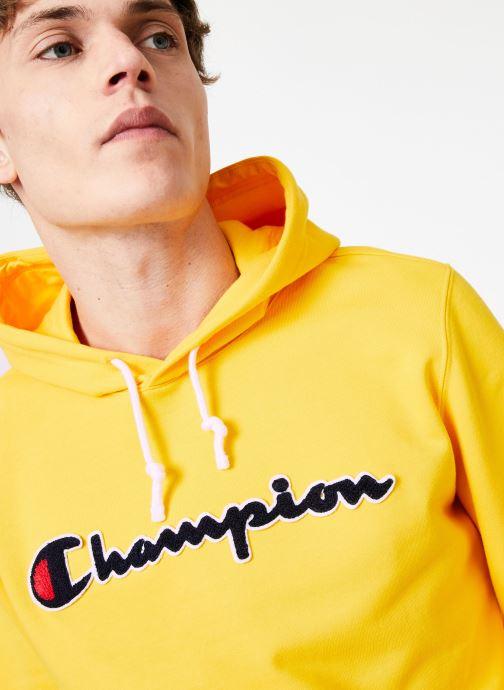 Vêtements Champion Champion Large Script Logo Hooded Sweatshirt Jaune vue face