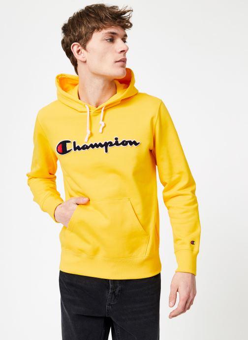 Vêtements Champion Champion Large Script Logo Hooded Sweatshirt Jaune vue droite