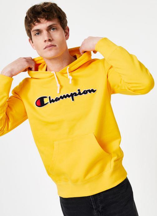 Vêtements Champion Champion Large Script Logo Hooded Sweatshirt Jaune vue détail/paire