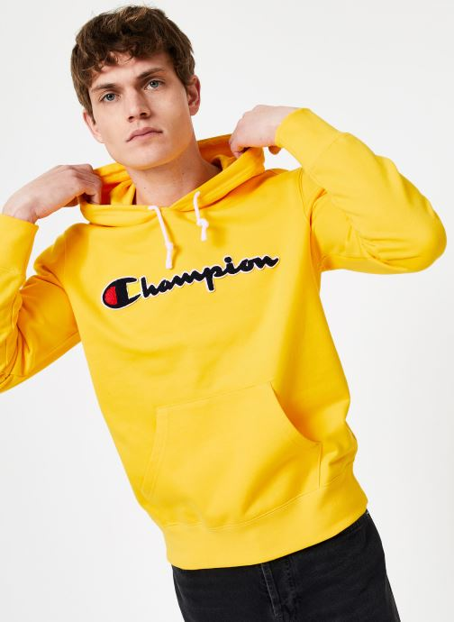 Kleding Champion Champion Large Script Logo Hooded Sweatshirt Geel detail