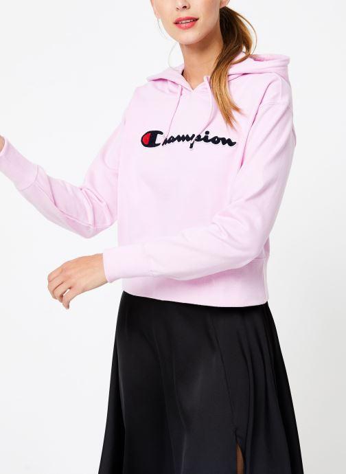 Kleding Champion Champion Large Script Logo Hooded Sweatshirt Roze rechts