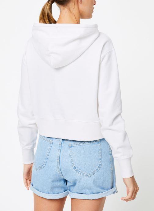 Vêtements Champion Champion Large Script Logo Hooded Sweatshirt Blanc vue portées chaussures