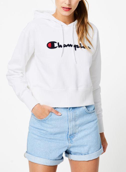 Vêtements Champion Champion Large Script Logo Hooded Sweatshirt Blanc vue droite