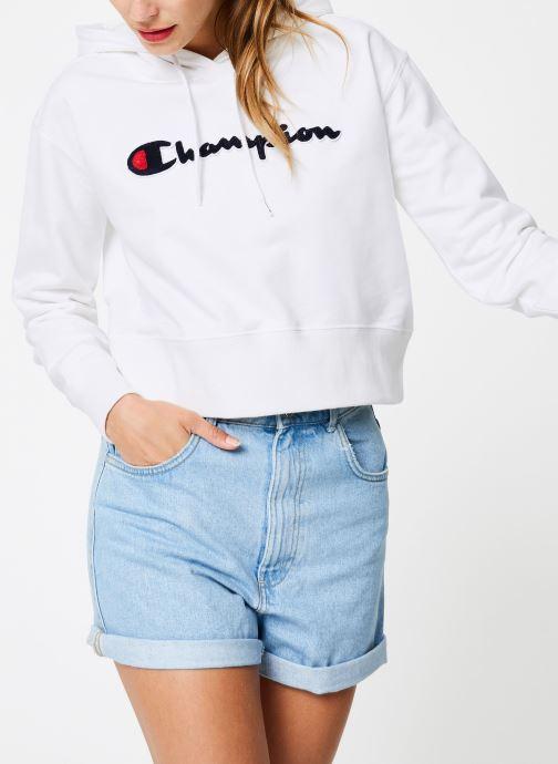 Tøj Champion Champion Large Script Logo Hooded Sweatshirt Hvid detaljeret billede af skoene