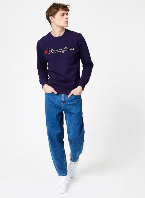 Kleding Champion Champion Large Script Logo Crewneck Sweatshirt Blauw onder